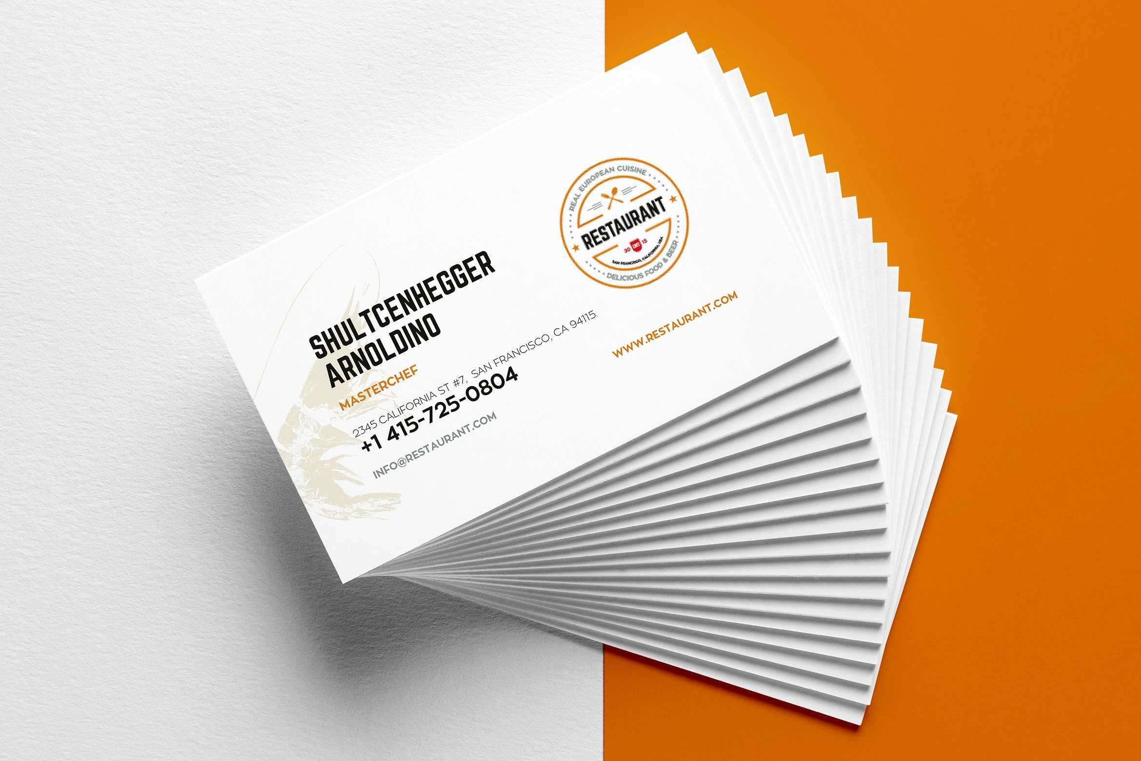 29+ Creative Restaurant Business Card Templates - Ai, Apple With Microsoft Office Business Card Template