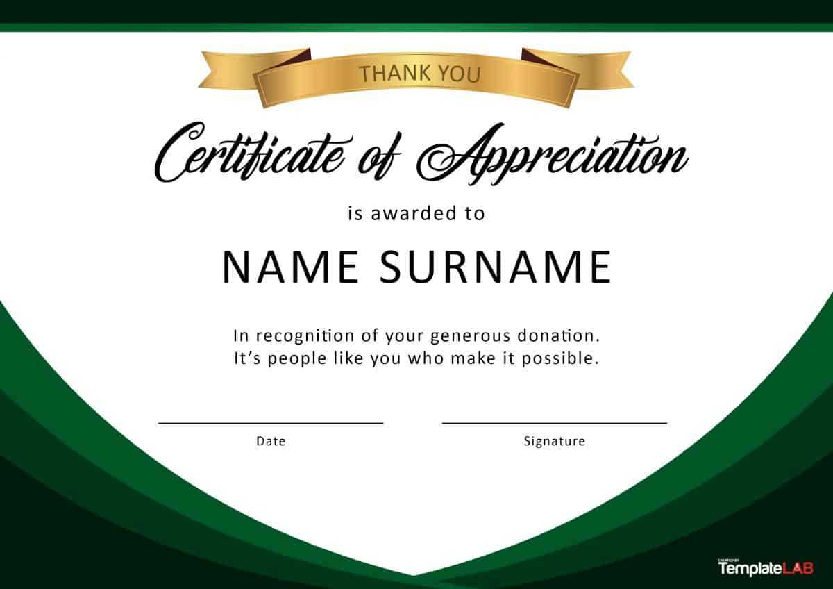 30 Free Certificate Of Appreciation Templates And Letters For Template For Certificate Of Award
