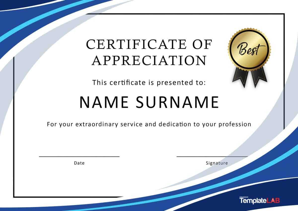 30 Free Certificate Of Appreciation Templates And Letters Regarding Certificate Of Service Template Free