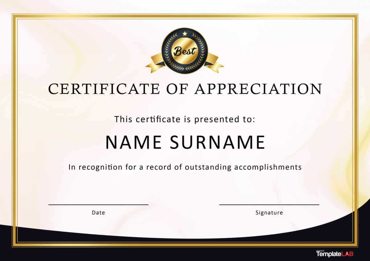 30 Free Certificate Of Appreciation Templates And Letters Throughout Certificate Of Appreciation Template Free Printable