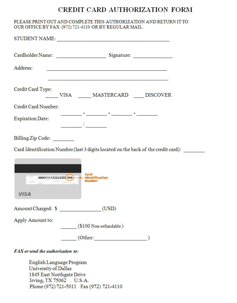 33+ Credit Card Authorization Form Template | Templates Study With Credit Card Payment Form Template Pdf