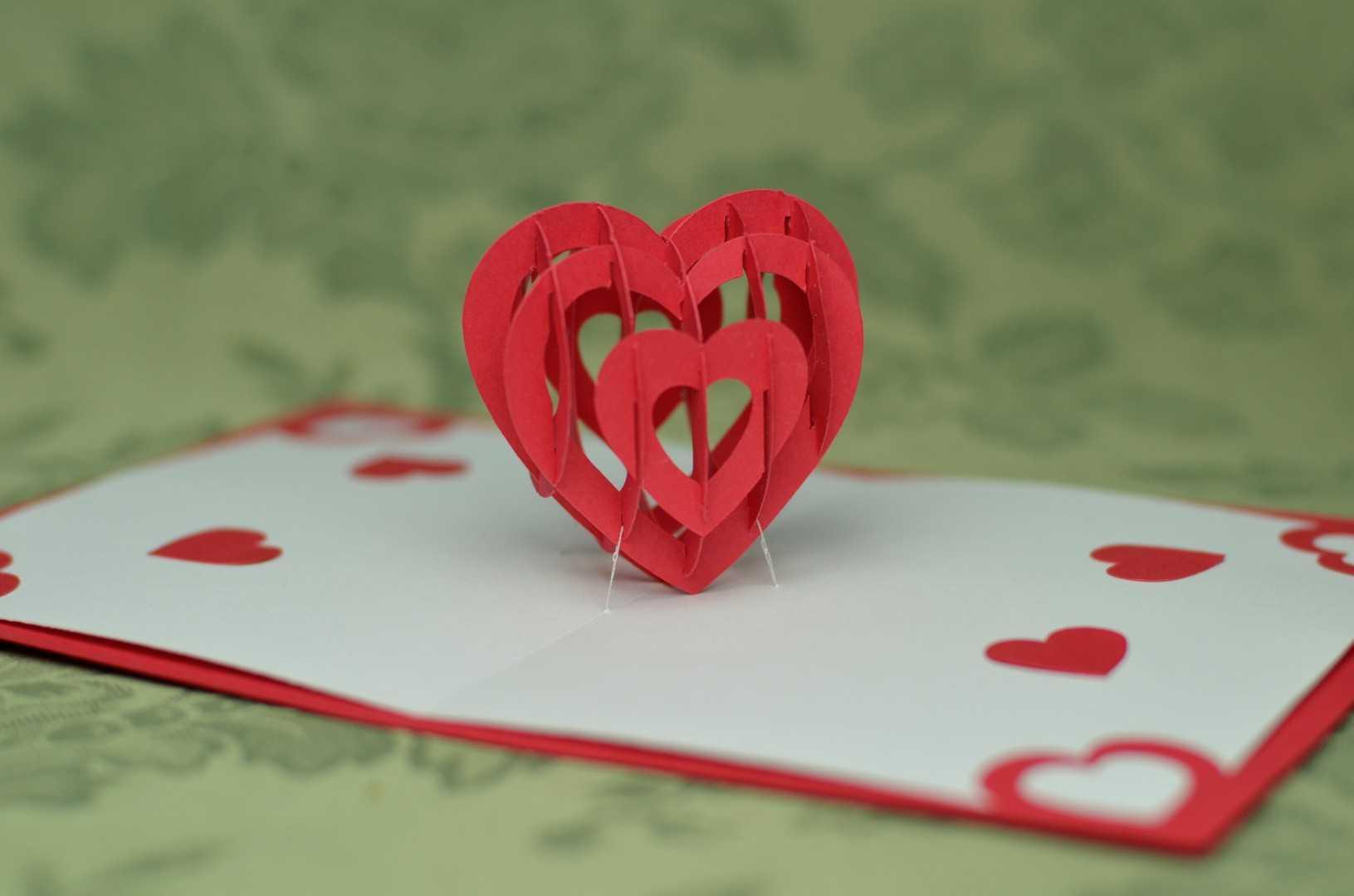 3D Heart Pop Up Card Template With 3D Heart Pop Up Card Template Pdf