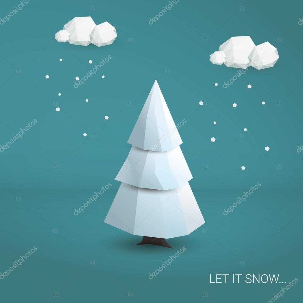 3D Low Poly Christmas Tree Card Template. Traditional In 3D Christmas Tree Card Template