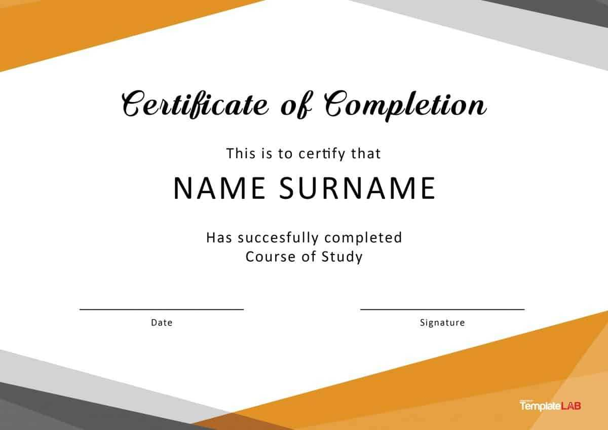 40 Fantastic Certificate Of Completion Templates [Word Throughout Training Certificate Template Word Format