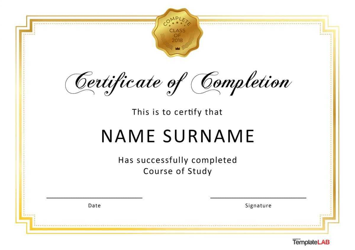 40 Fantastic Certificate Of Completion Templates [Word With Regard To Word Certificate Of Achievement Template