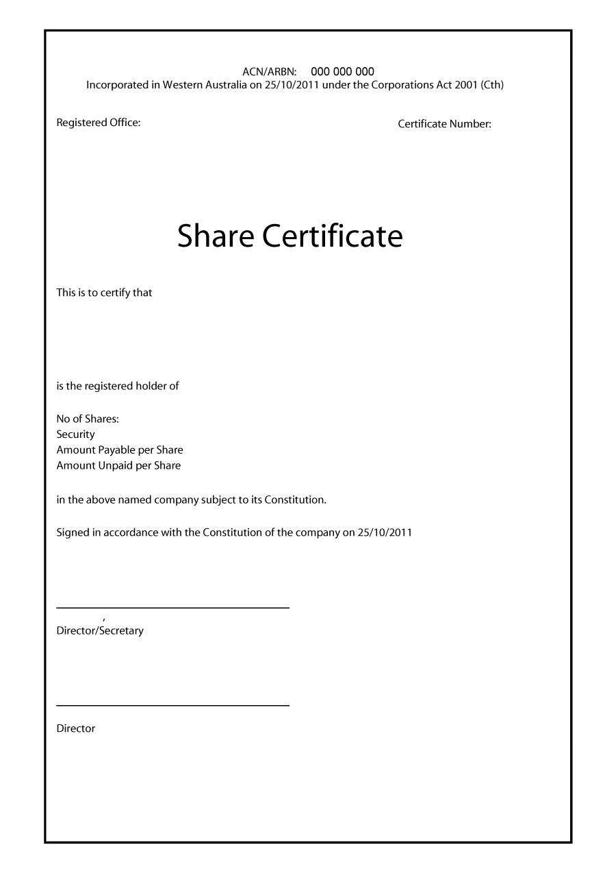 40+ Free Stock Certificate Templates (Word, Pdf) ᐅ Template Lab Throughout Template Of Share Certificate