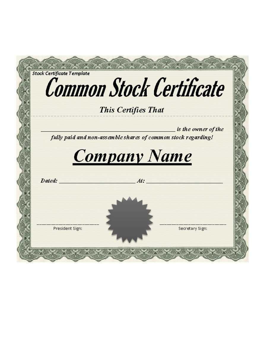 40+ Free Stock Certificate Templates (Word, Pdf) ᐅ Template Lab With Stock Certificate Template Word