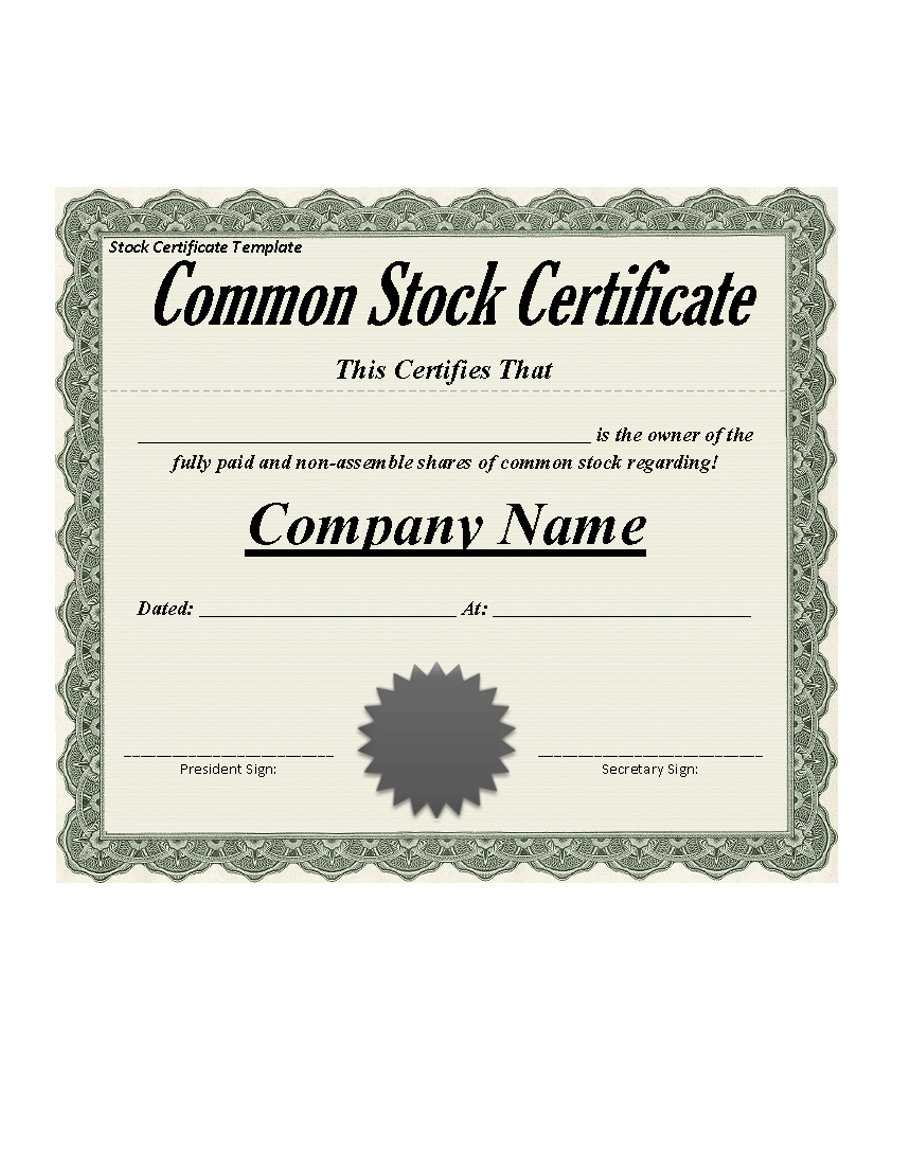 40+ Free Stock Certificate Templates (Word, Pdf) ᐅ Template Lab Within Certificate Of Ownership Template