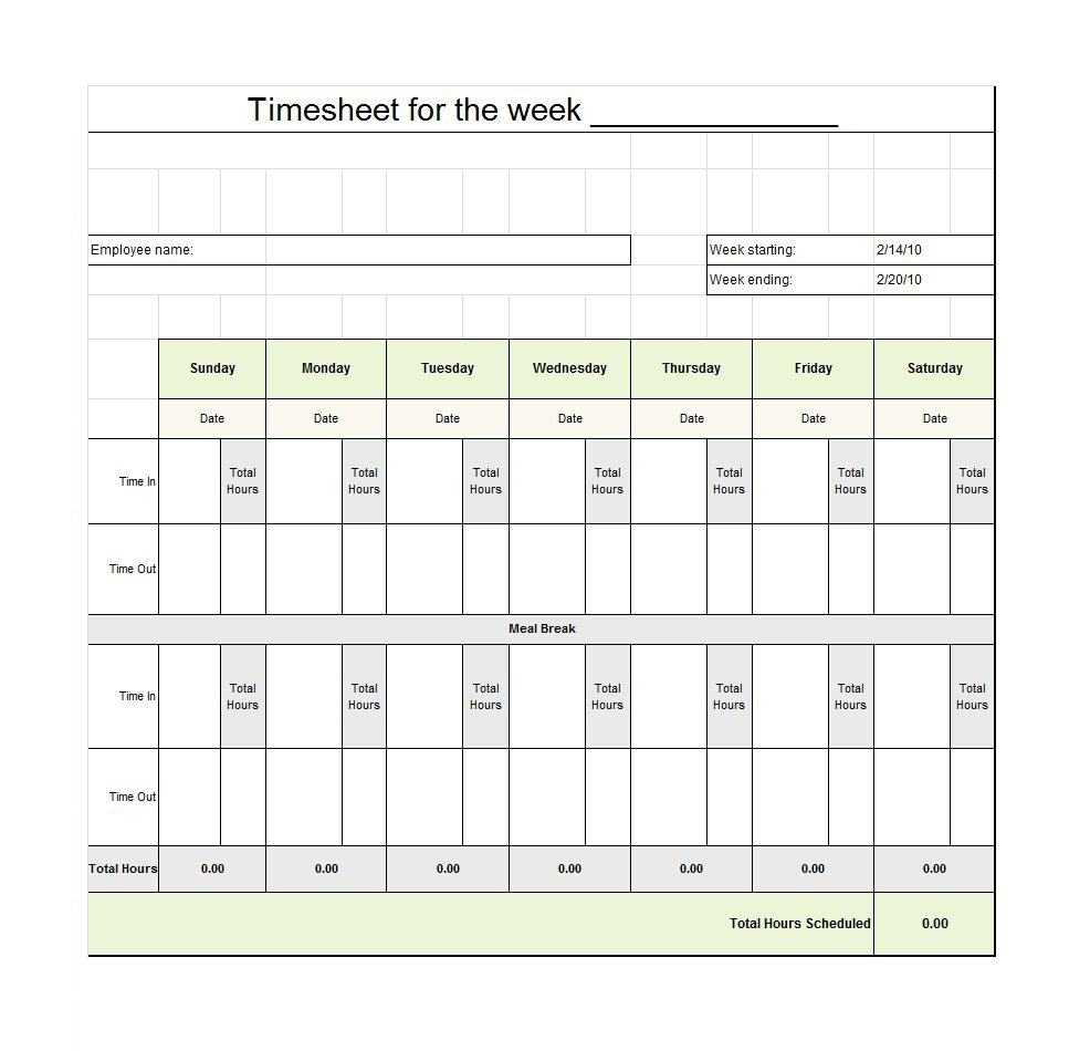 40 Free Timesheet Templates [In Excel] ᐅ Template Lab For Weekly Time Card Template Free