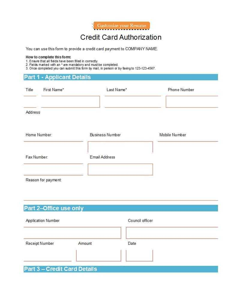 41 Credit Card Authorization Forms Templates {Ready To Use} With Regard To Credit Card Payment Form Template Pdf