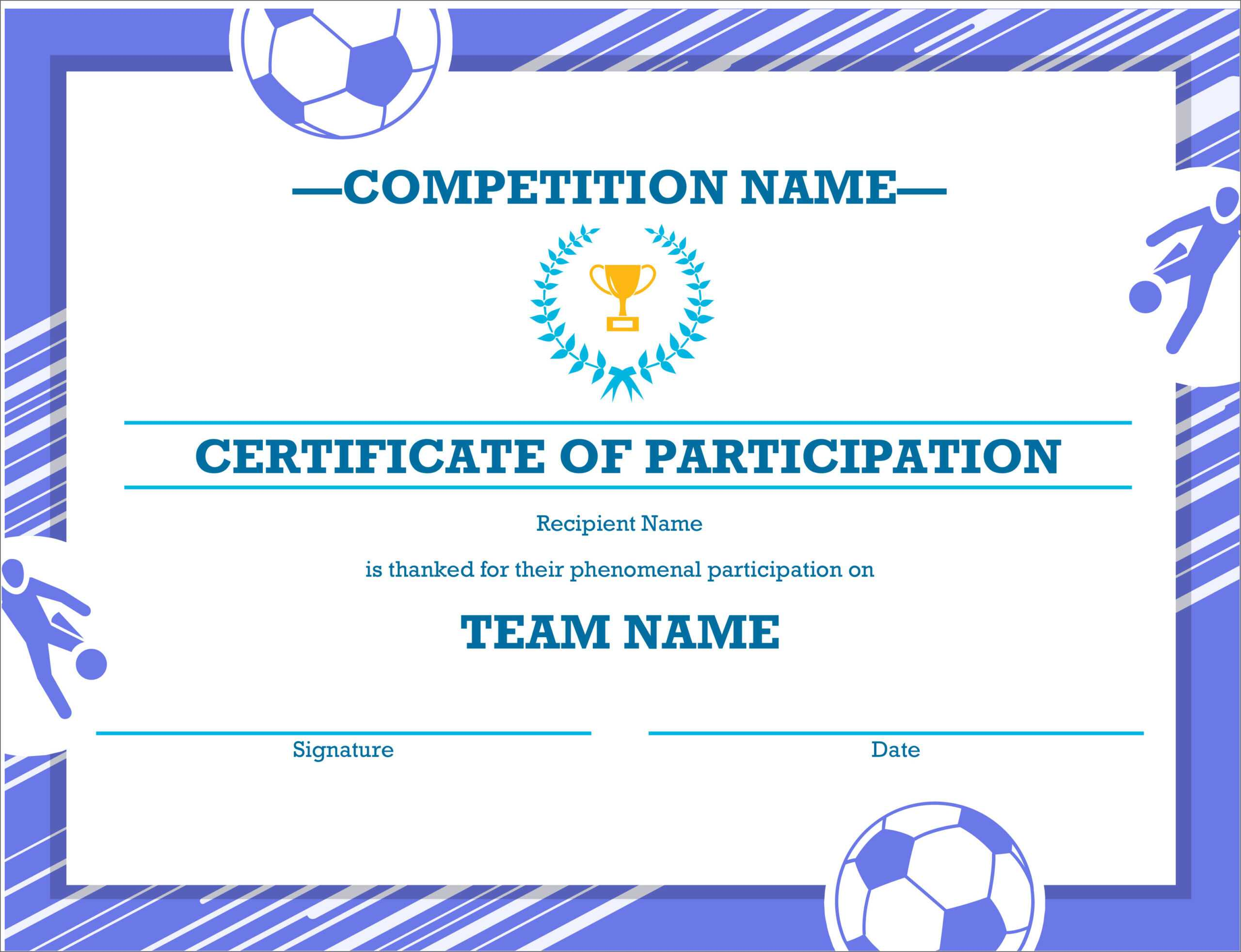 50 Free Creative Blank Certificate Templates In Psd With Sports Award Certificate Template Word