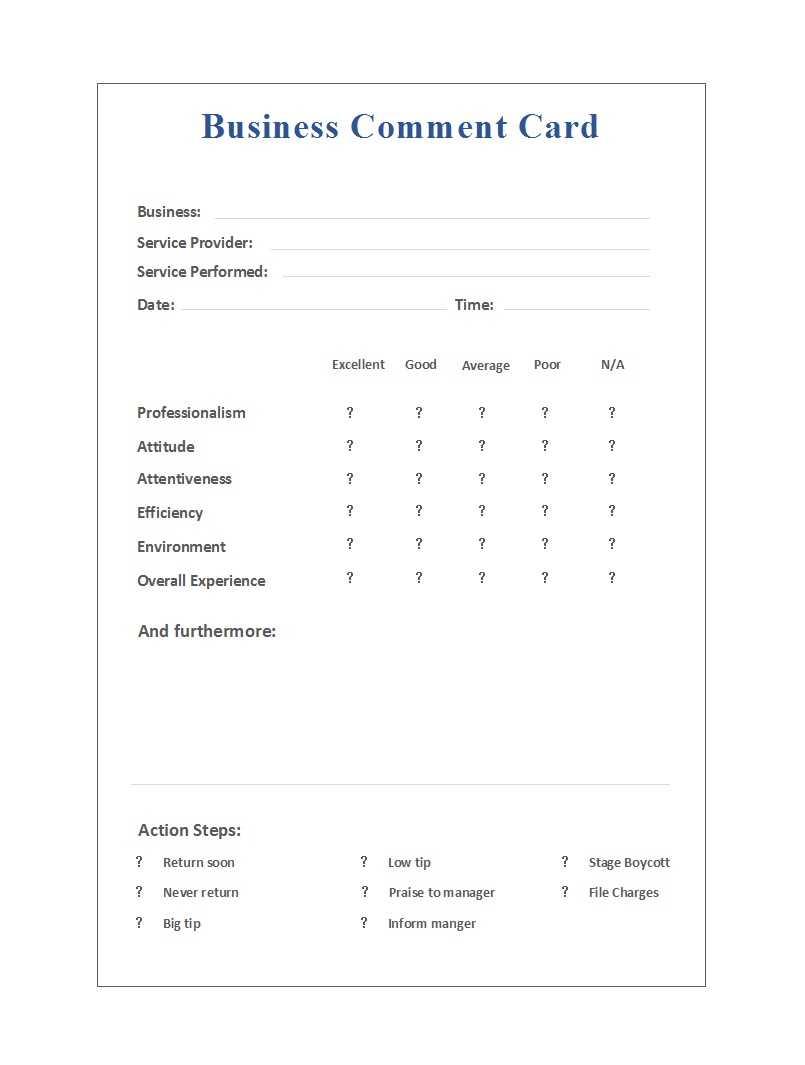 50 Printable Comment Card & Feedback Form Templates ᐅ Regarding Survey Card Template