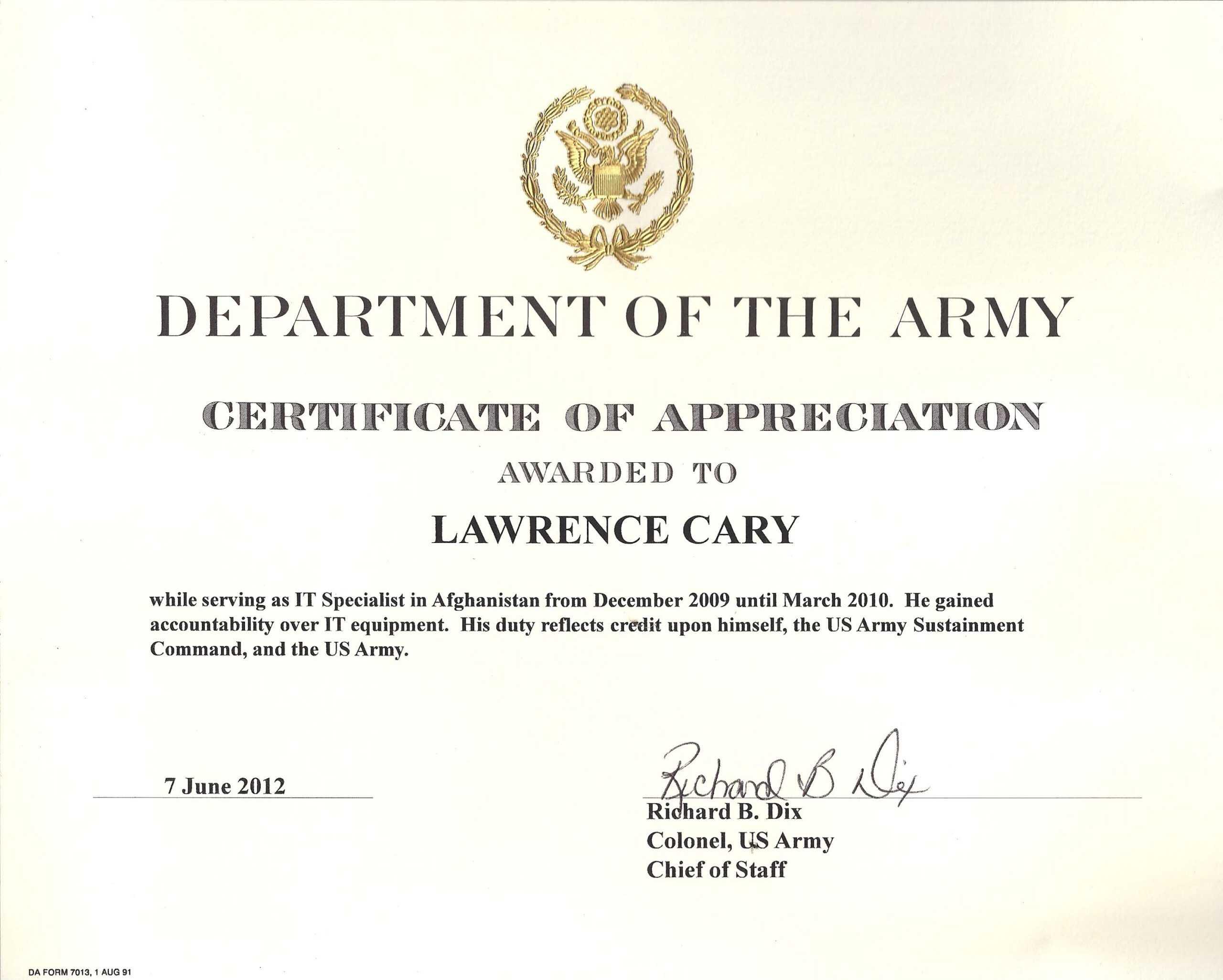 6+ Army Appreciation Certificate Templates - Pdf, Docx Regarding Certificate Of Achievement Army Template