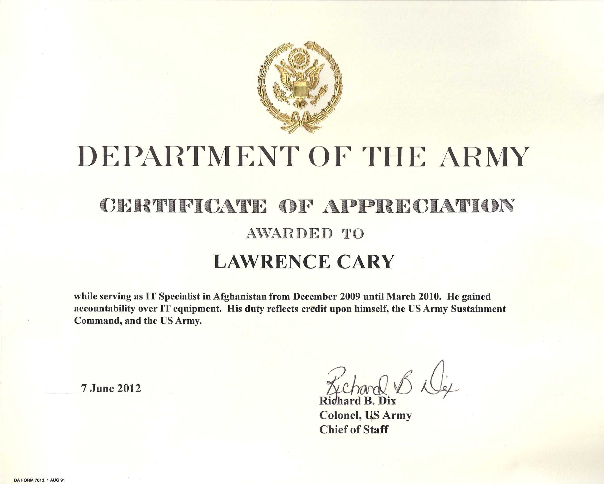6+ Army Appreciation Certificate Templates - Pdf, Docx Within Officer Promotion Certificate Template