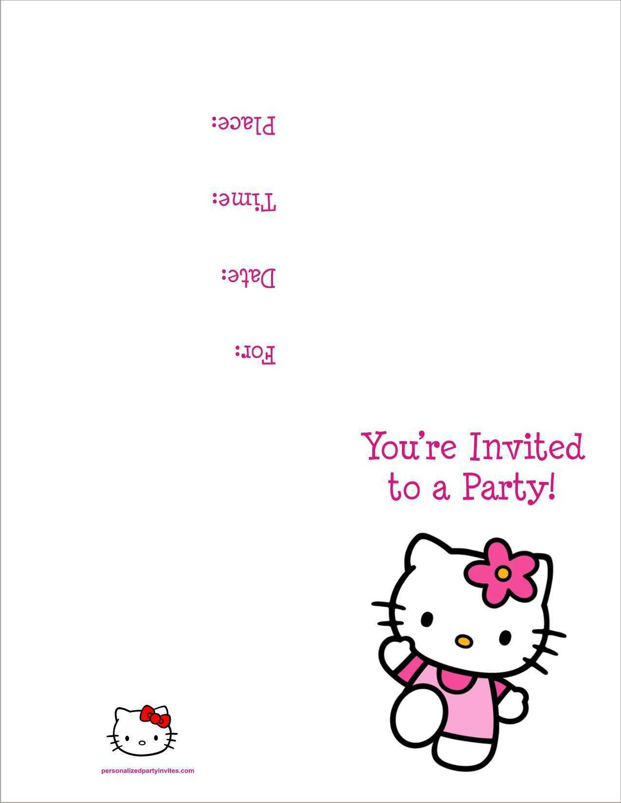 85 Visiting 7Th Birthday Invitation Template Hello Kitty For With Hello Kitty Birthday Card Template Free
