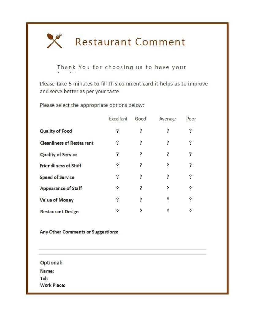 9 Restaurant Comment Card Templates - Free Sample Templates With Restaurant Comment Card Template