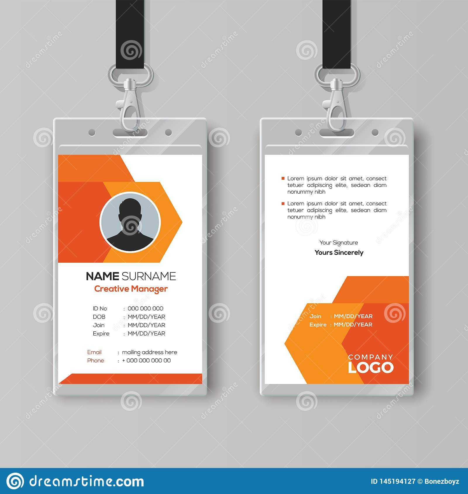 Abstract Orange Id Card Design Template Stock Vector Inside Company Id Card Design Template