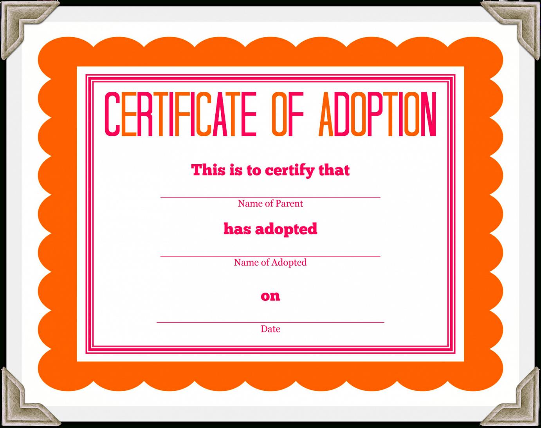 Adoption Certificate Template – Certificate Templates Regarding Adoption Certificate Template