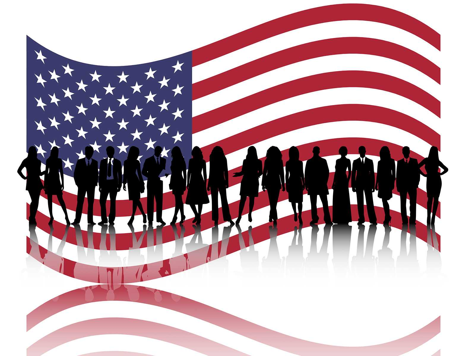 American Business People Powerpoint Templates – Business Within American Flag Powerpoint Template