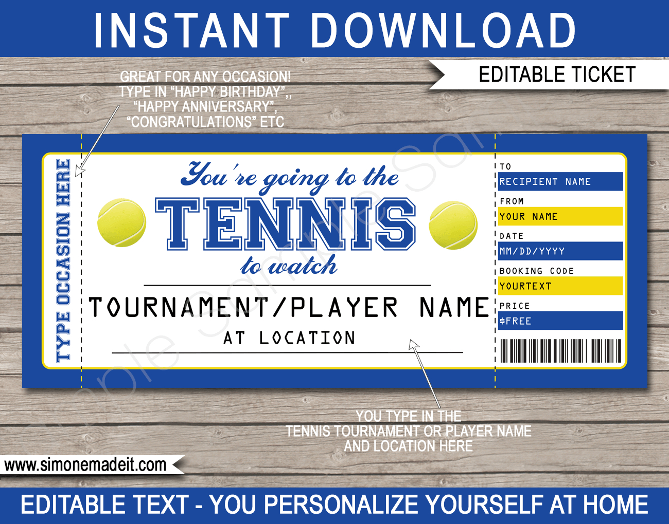 Any Occasion Tennis Gift Tickets With Regard To Tennis Gift Certificate Template