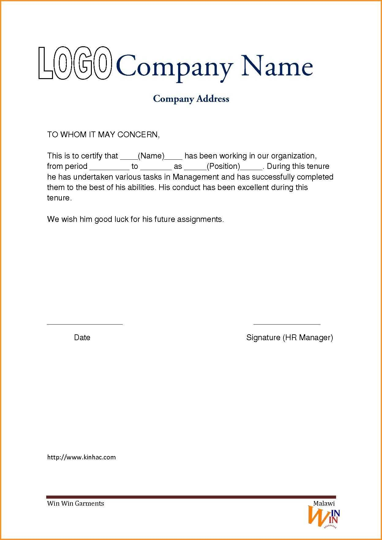 Apply For Experience Letter Format - Empathy Statements In Throughout Template Of Experience Certificate
