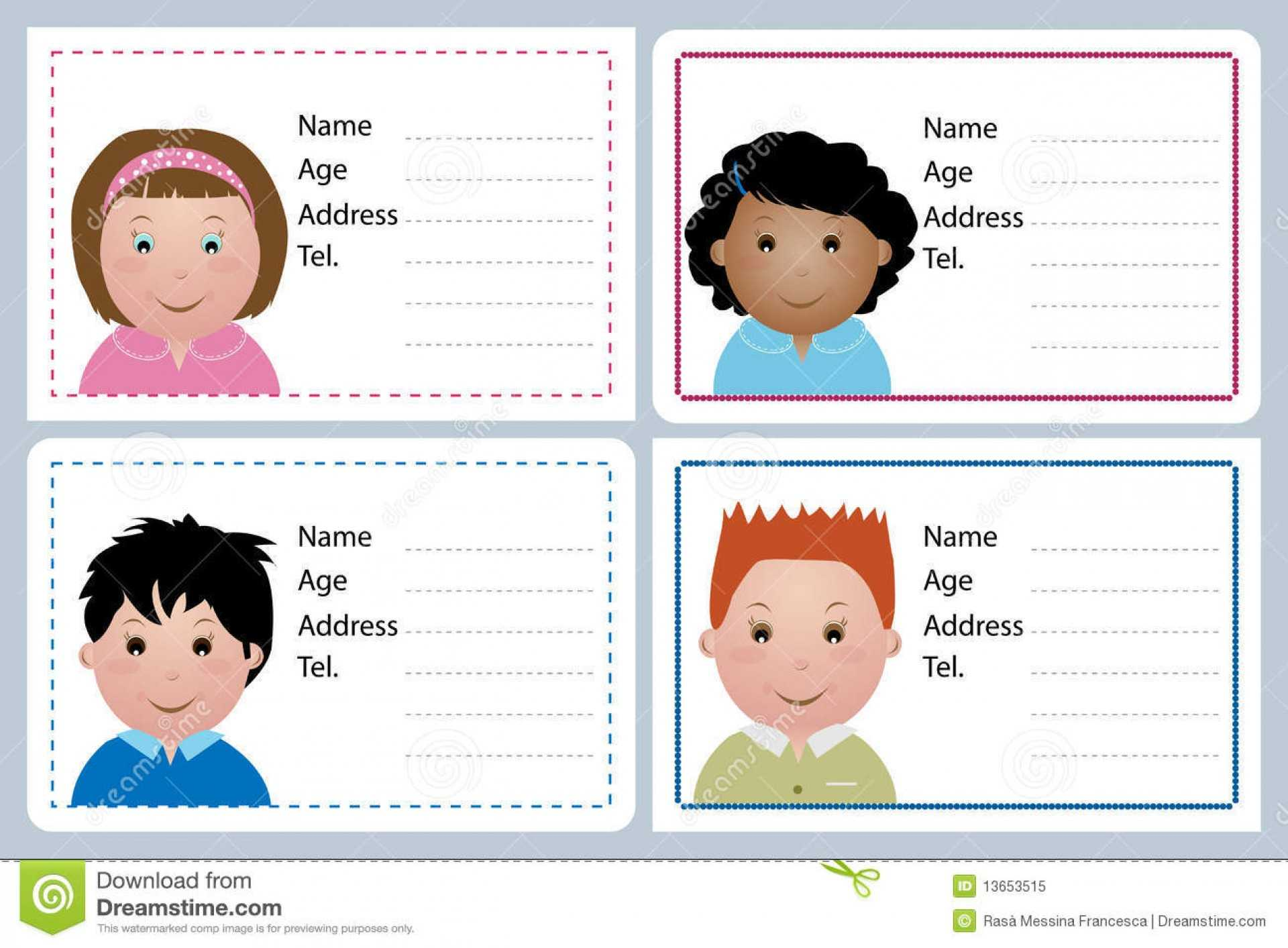 Astounding Child Id Card Template Free Ideas Download With Regard To Id Card Template For Kids