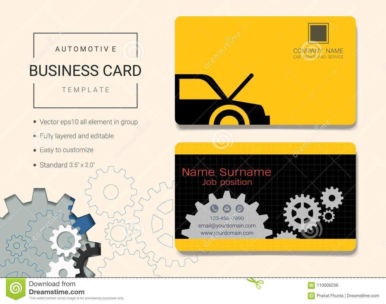 Automotive Business Card Or Name Card Template. Stock Vector Intended For Automotive Business Card Templates