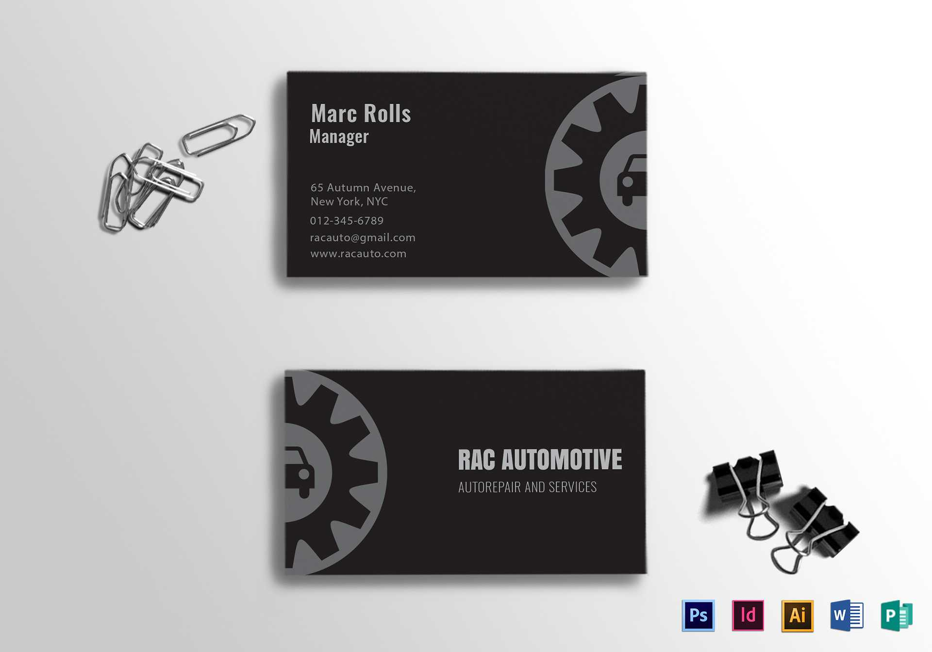 Automotive Business Card Template With Automotive Business Card Templates