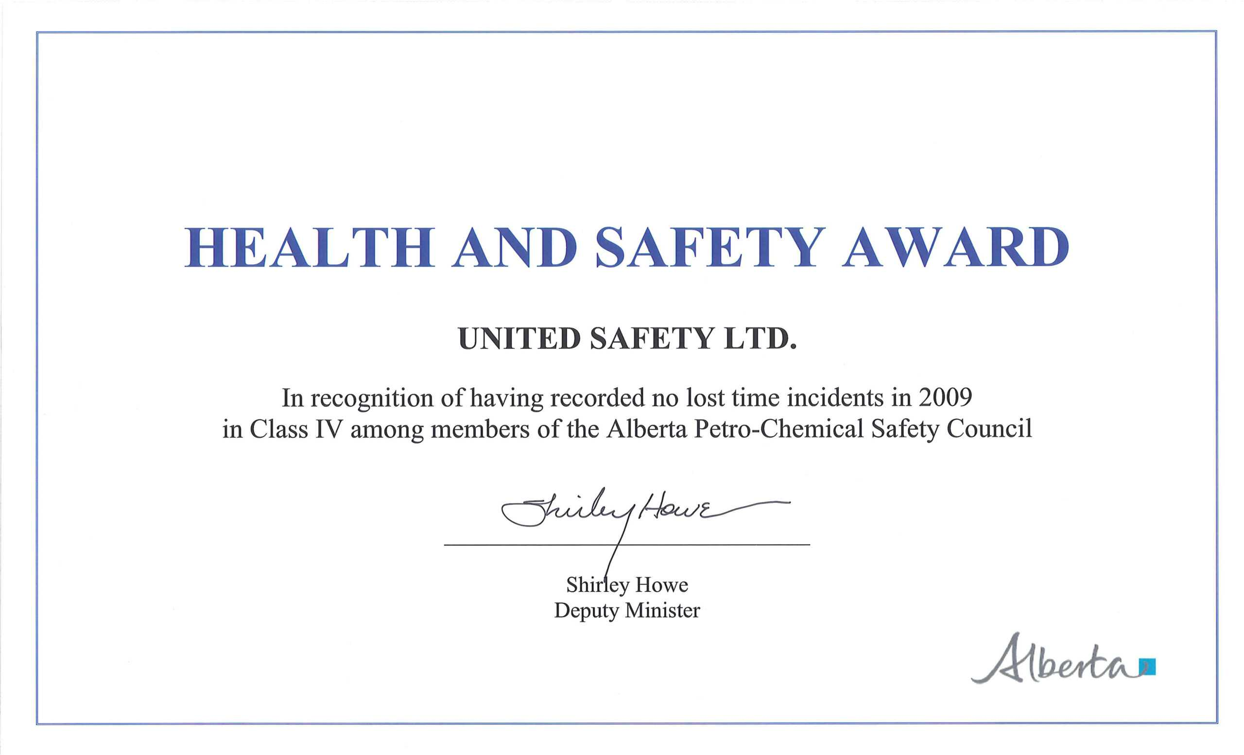 Awards And Recognition | United Safety Usa Throughout Life Saving Award Certificate Template