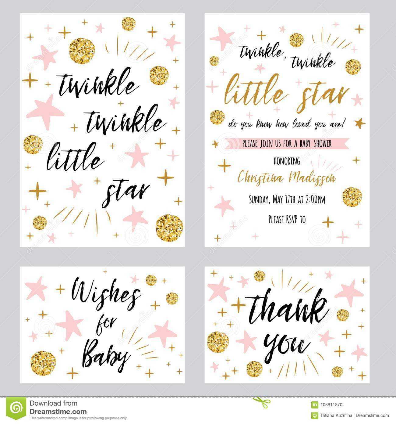 Baby Shower Girl Templates Twinkle Twinkle Little Star Text Pertaining To Thank You Card Template For Baby Shower