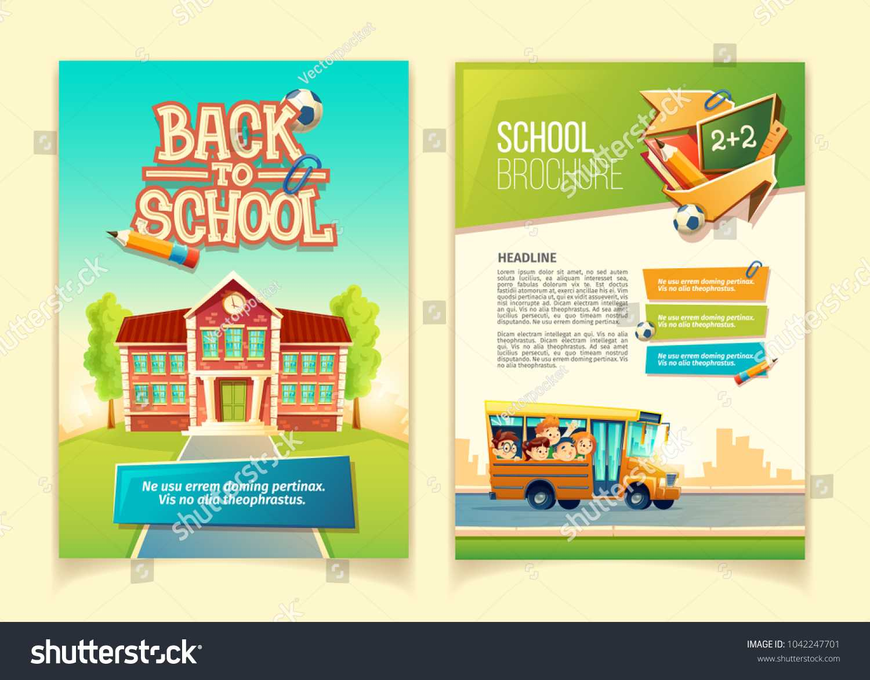 Back School Brochure Vector Cartoon Template Stock Vector Intended For School Brochure Design Templates