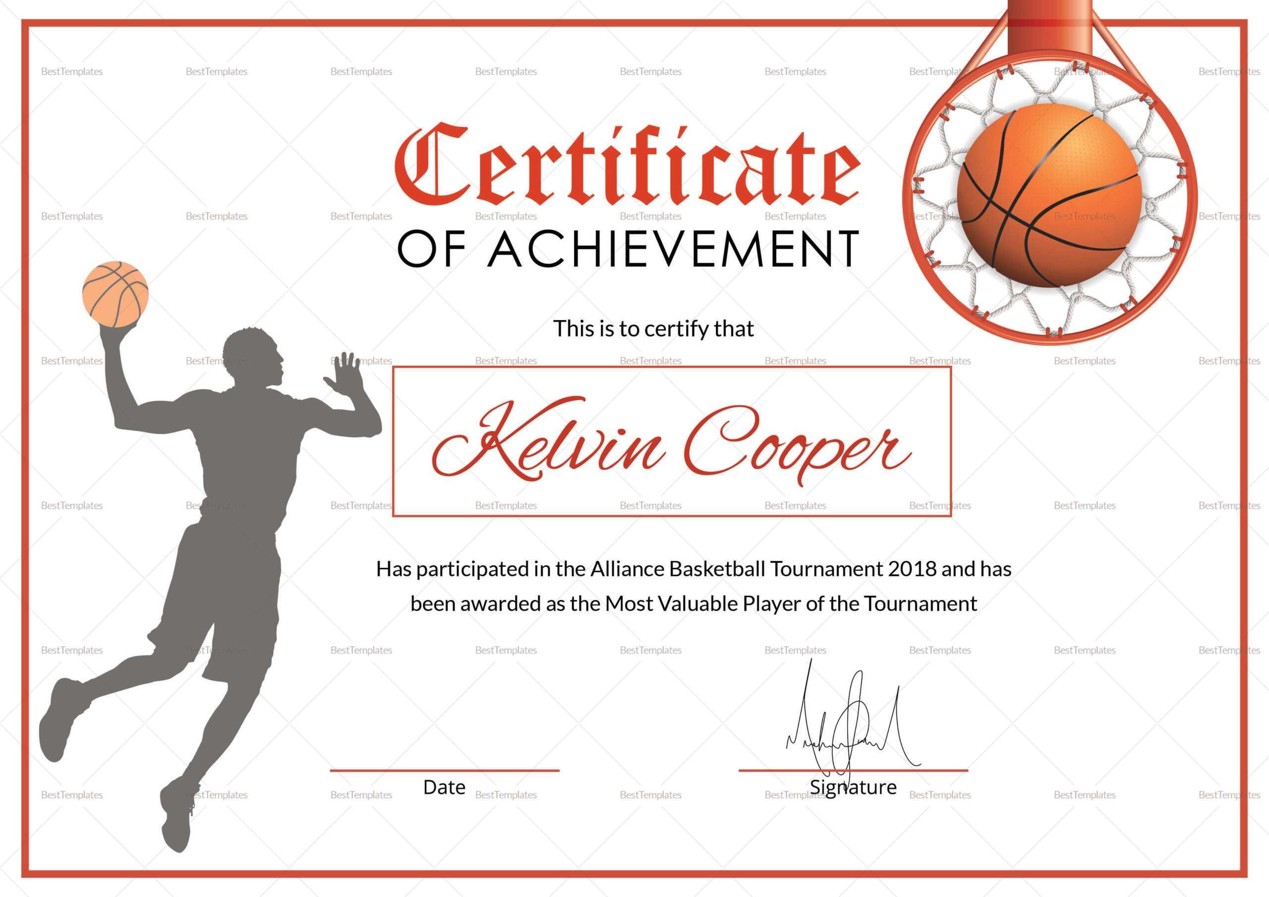 Basketball Award Achievement Certificate Template Pertaining To Sports Award Certificate Template Word