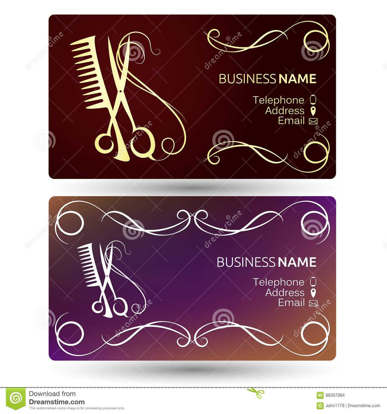Beauty Salon Business Card Template Stock Vector Within Hairdresser Business Card Templates Free