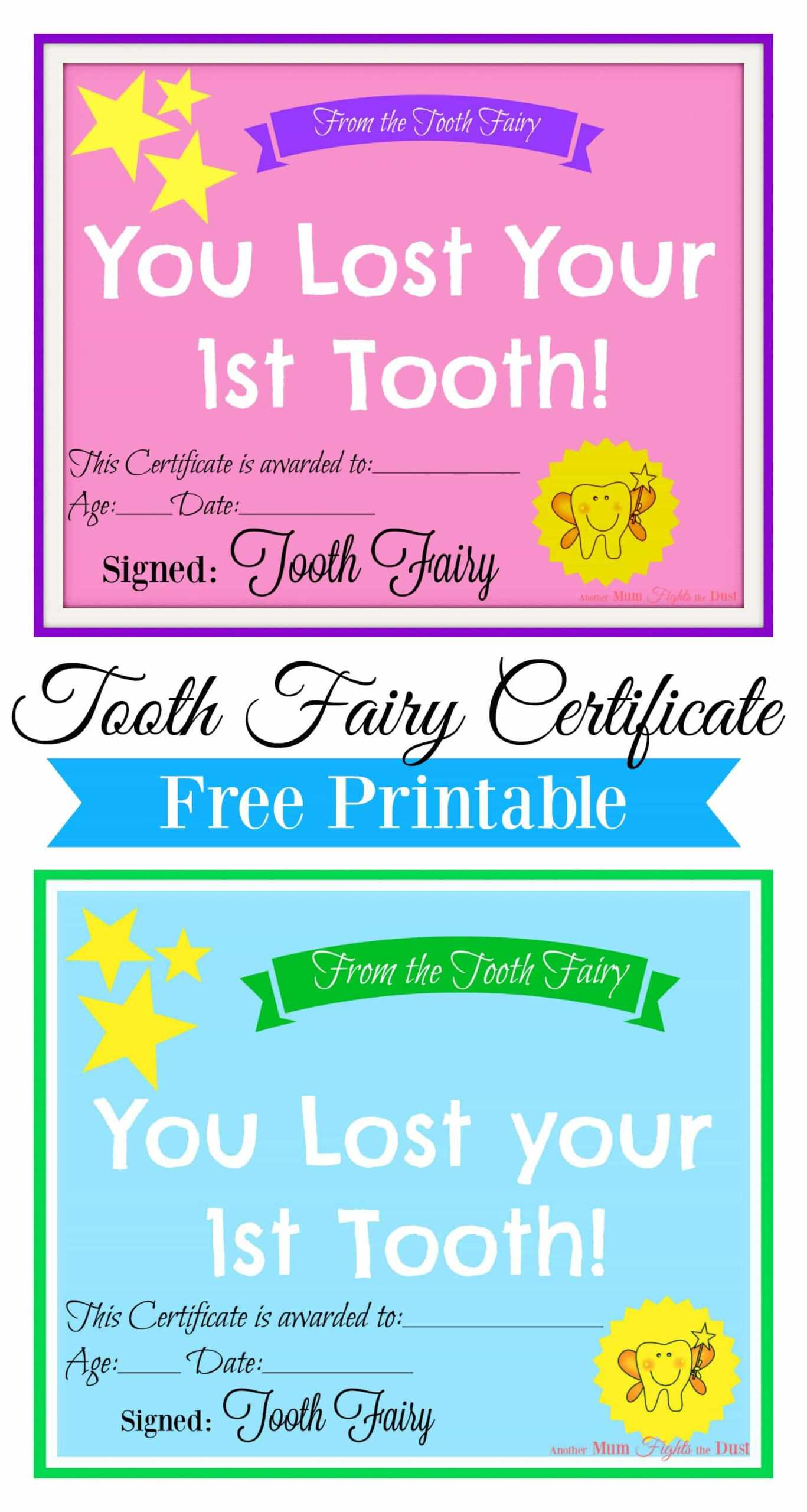 Best Printable Tooth Fairy Certificates | William Blog In Tooth Fairy Certificate Template Free