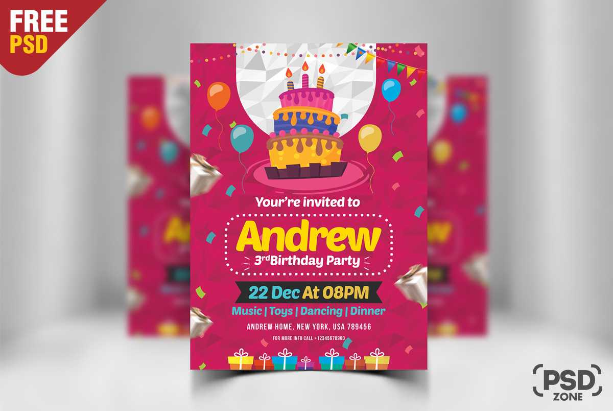 Birthday Invitation Card Design Free Psd - Psd Zone Throughout Photoshop Birthday Card Template Free