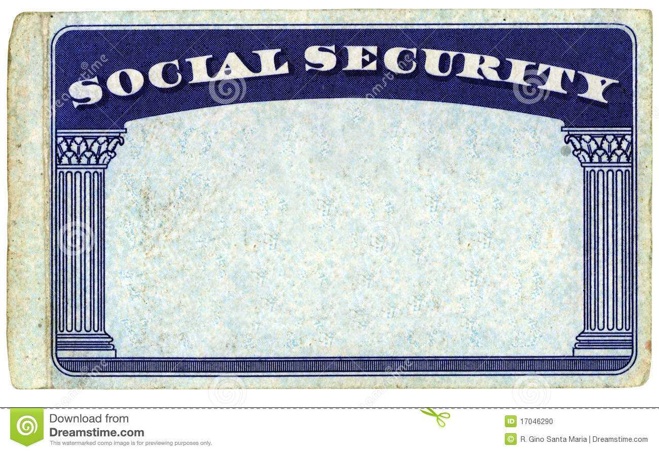 Blank American Social Security Card Stock Photo - Image Of Regarding Ssn Card Template