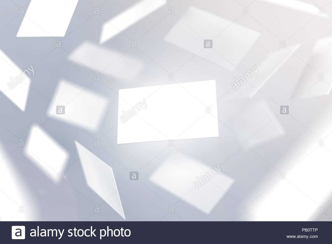 Blank Business Cards Falling, 3D Rendering. Namecard Design Throughout Template For Calling Card