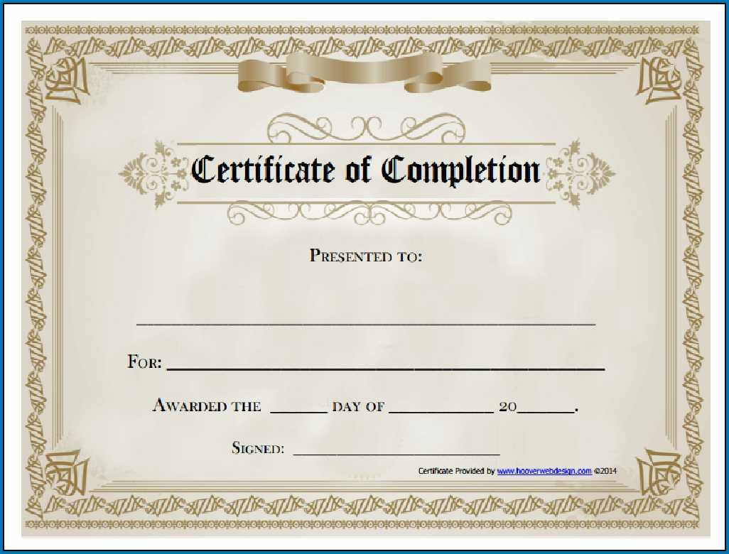 Blank Certificate Of Completion Template - Colona.rsd7 With Regard To Certificate Of Completion Template Free Printable