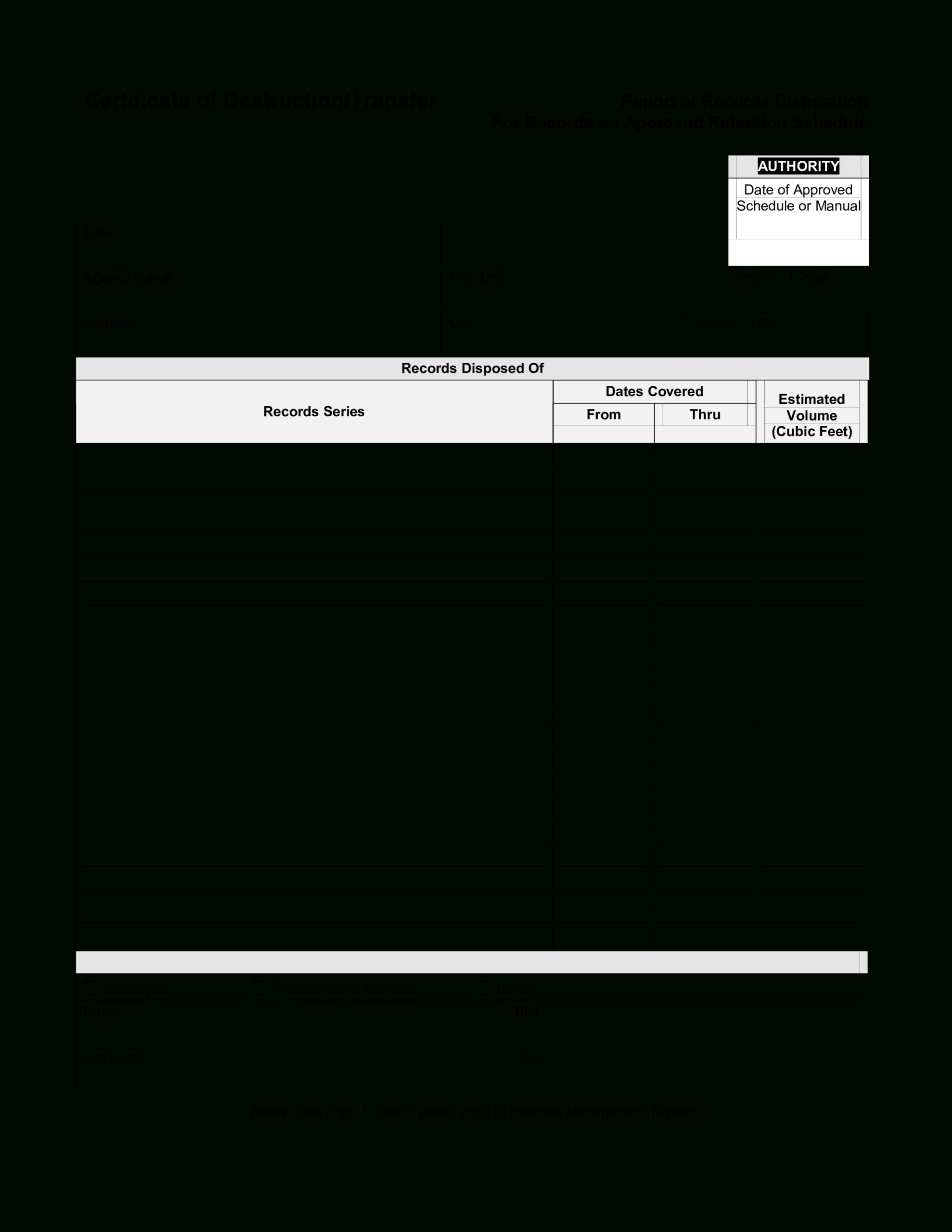 Blank Certificate Of Destruction | Templates At Regarding Destruction Certificate Template