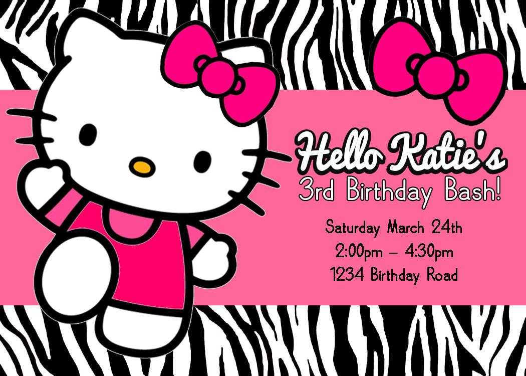Blank Hello Kitty Birthday Invitations Regarding Hello Kitty Birthday Card Template Free