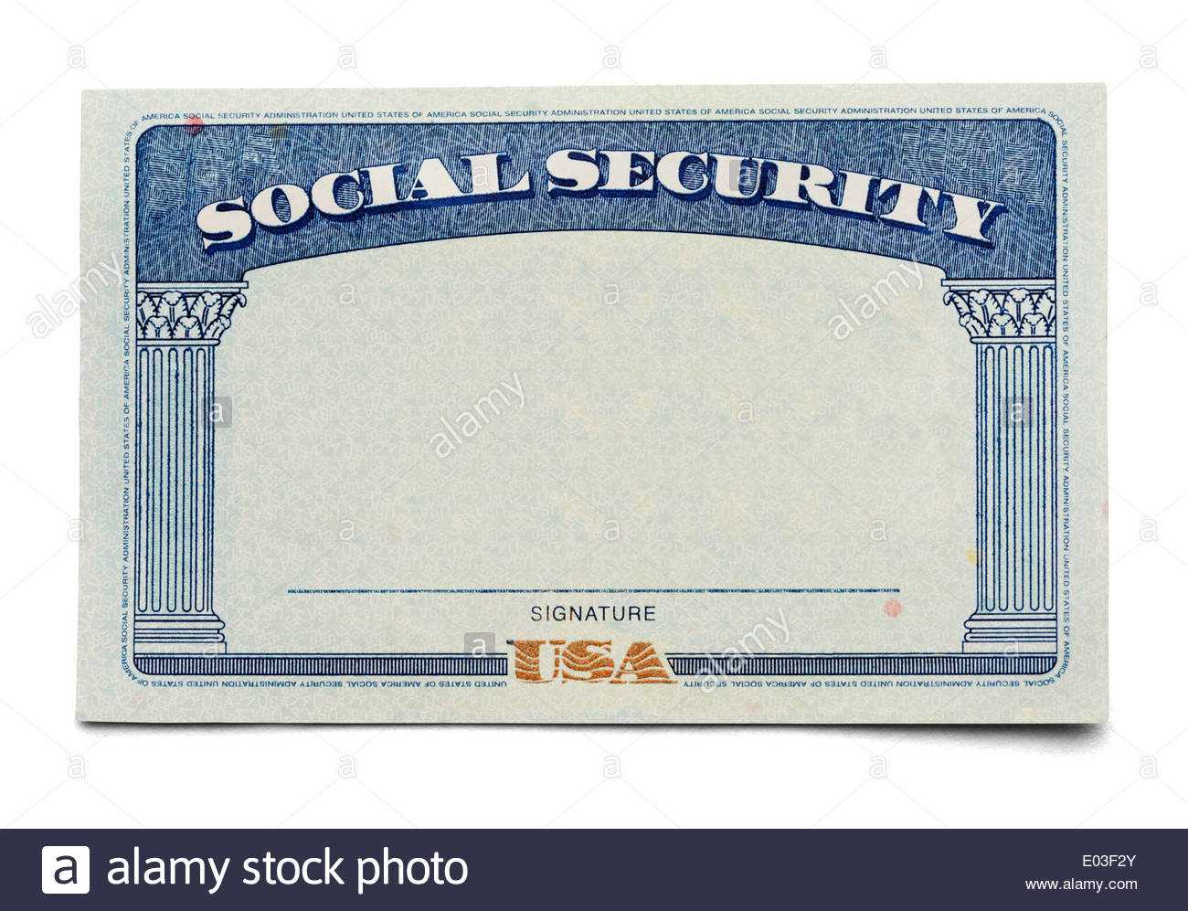 Blank Social Security Card Isolated On A White Background Within Ssn Card Template