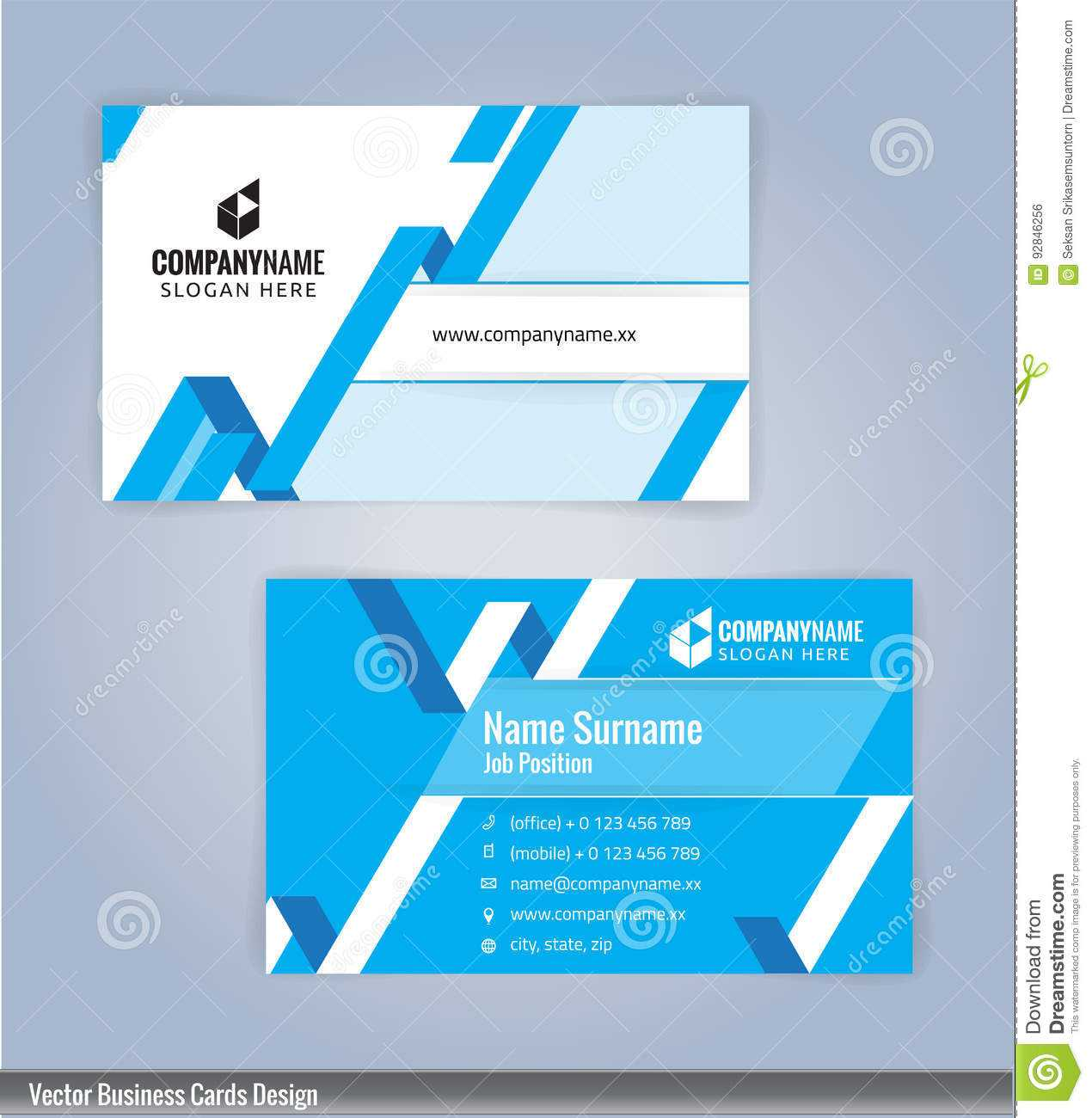 Blue And White Modern Creative And Clean Business Card Throughout Designer Visiting Cards Templates