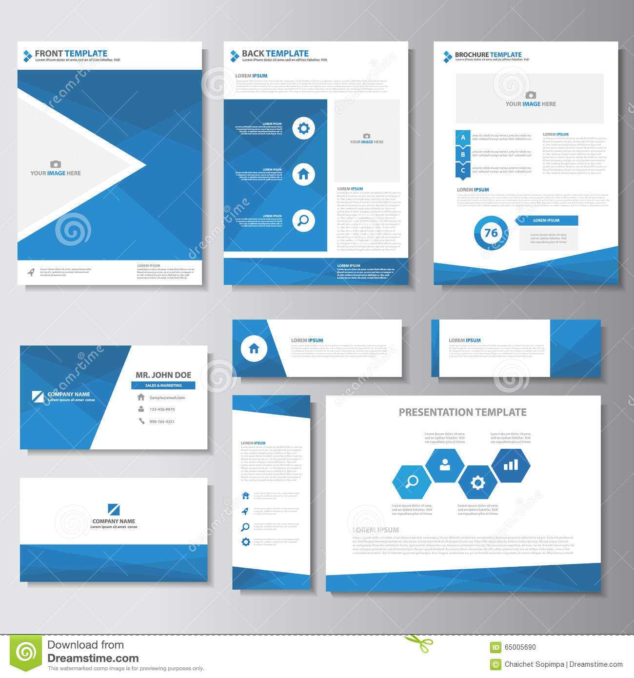 Blue Business Brochure Flyer Leaflet Presentation Card Pertaining To Advertising Card Template