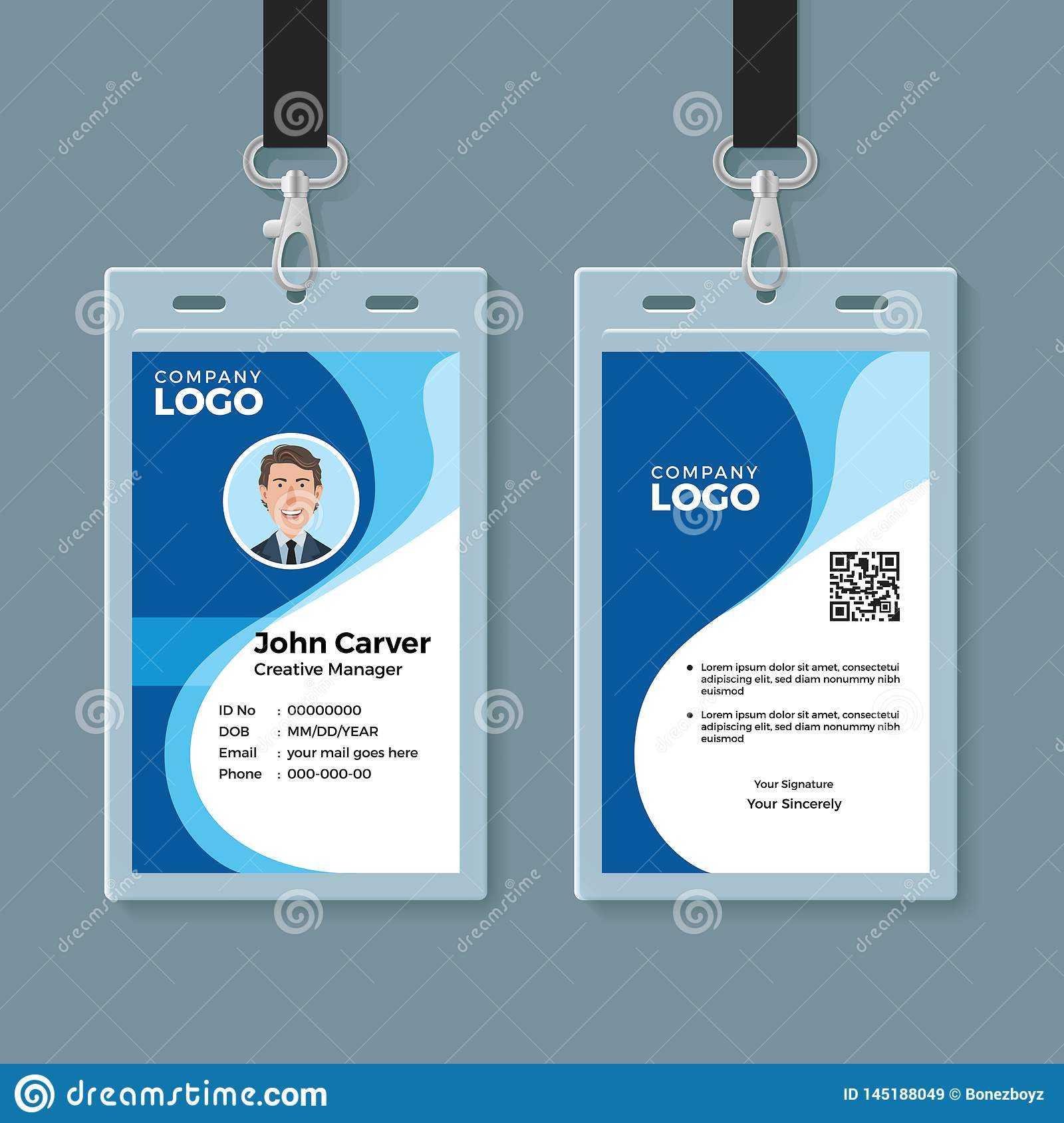 Blue Curve Wave Id Card Design Template Stock Vector In Company Id Card Design Template