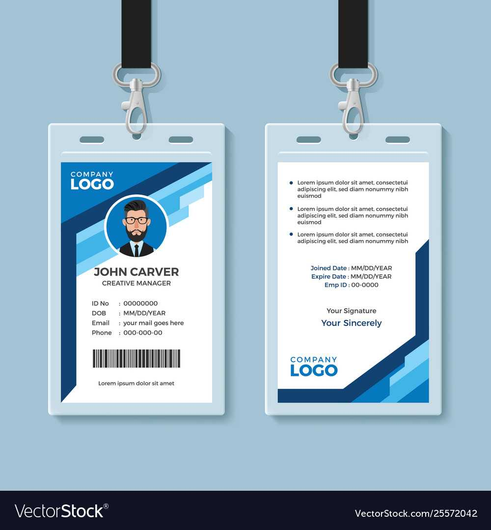 Blue Graphic Employee Id Card Template Throughout Work Id Card Template