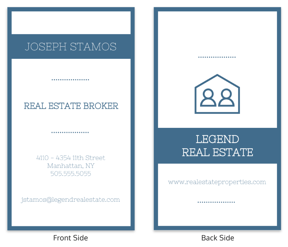 Blue Vertical Real Estate Business Card Template With Regard To Dog Grooming Record Card Template
