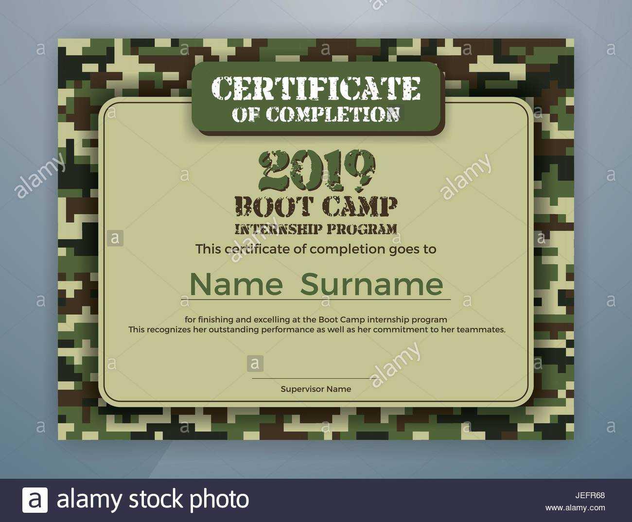 Boot Camp Internship Program Certificate Template Design Throughout Boot Camp Certificate Template