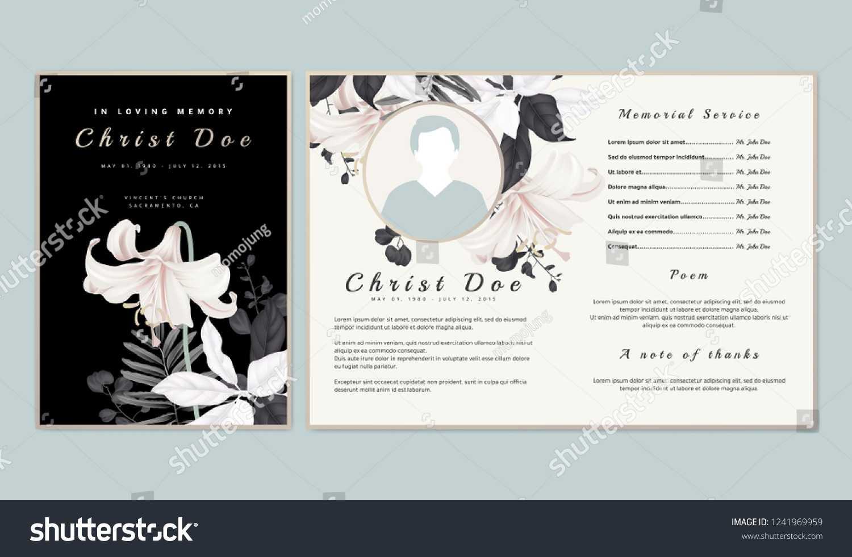Botanical Memorial Funeral Invitation Card Template Stock In Funeral Invitation Card Template