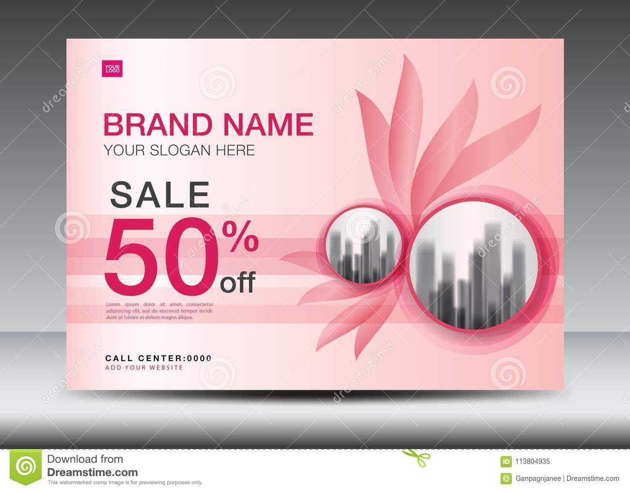 Brochure Flyer For Cosmetics, Banner Design Template Vector Within Advertising Card Template