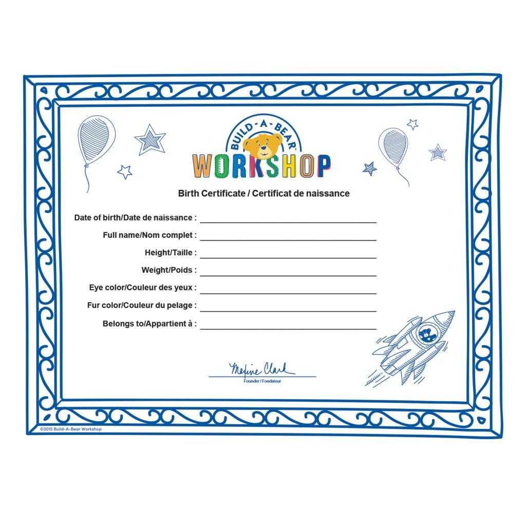 Build A Bear Build A Bear Workshop® Furry  - Spin Master Regarding Build A Bear Birth Certificate Template